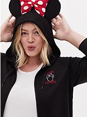 Disney Minnie Mouse Black Fleece Zip Hoodie, DEEP BLACK, hi-res