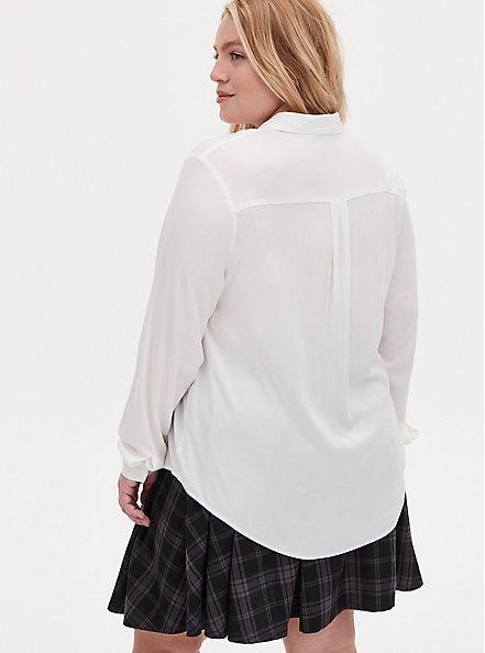 Plus Size Harry Potter Hogwarts School Challis Necktie Button Front Shirt, CLOUD DANCER, alternate