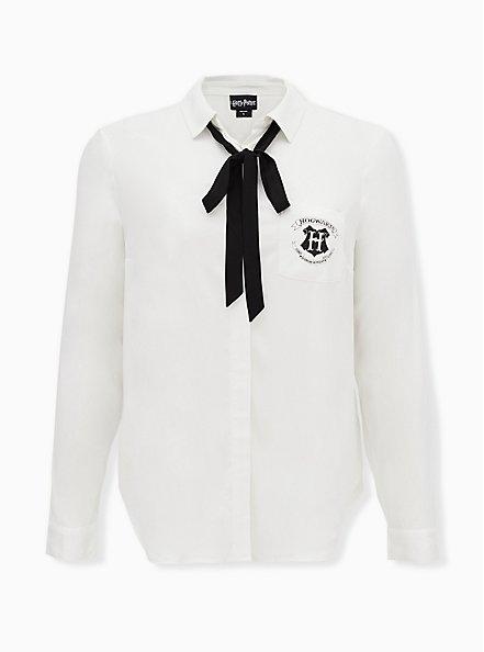 Plus Size Harry Potter Hogwarts School Challis Necktie Button Front Shirt, CLOUD DANCER, hi-res