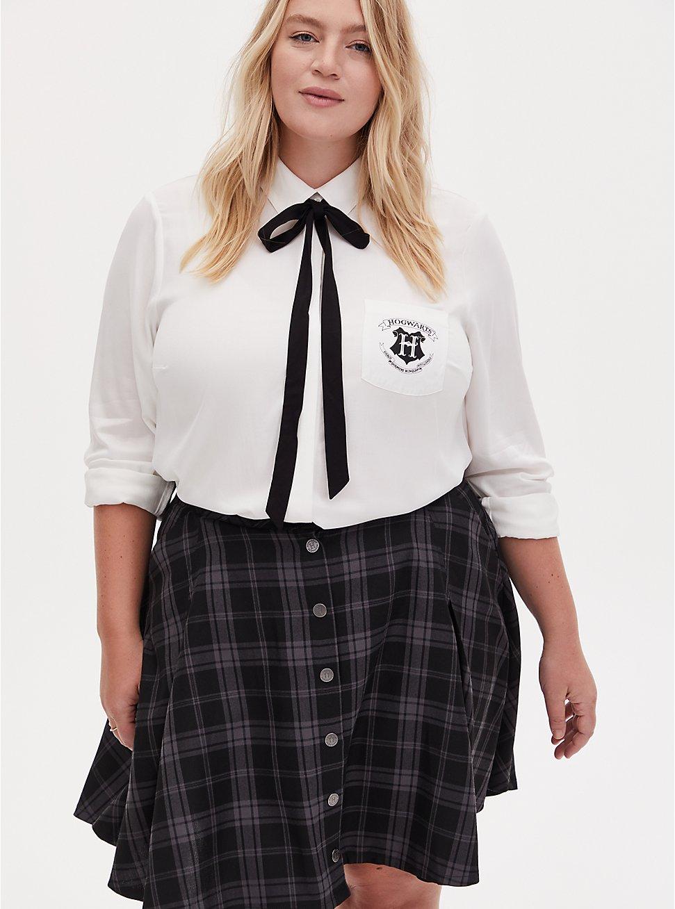 Harry Potter Hogwarts School Challis Necktie Button Front Shirt, CLOUD DANCER, hi-res