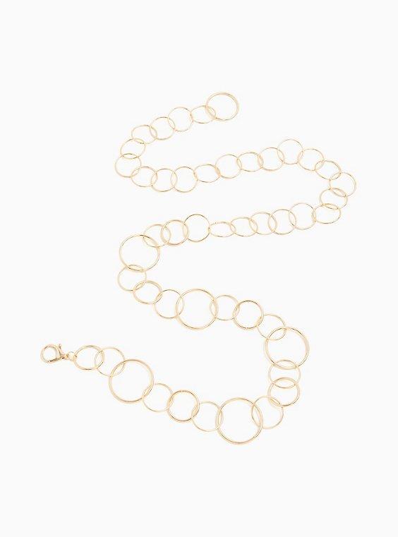 Gold-Tone Ring Chain Belt, GOLD, hi-res