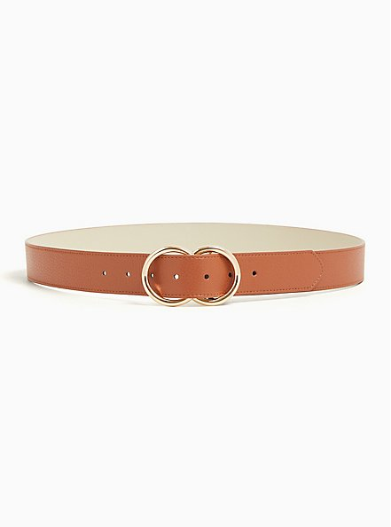 Cognac Faux Leather Dual Ring Buckle Belt, BROWN, alternate