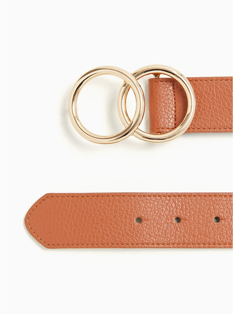 Cognac Faux Leather Dual Ring Buckle Belt, BROWN, hi-res