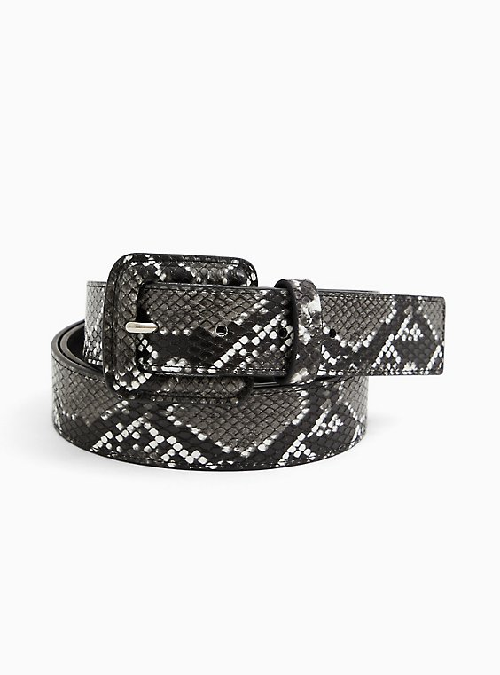 Dark Grey Snakeskin Print Faux Leather Buckle Belt, BLACK, hi-res
