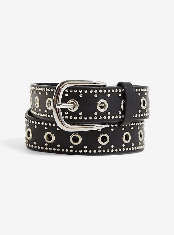 Black Faux Leather Grommet Belt, BLACK, hi-res