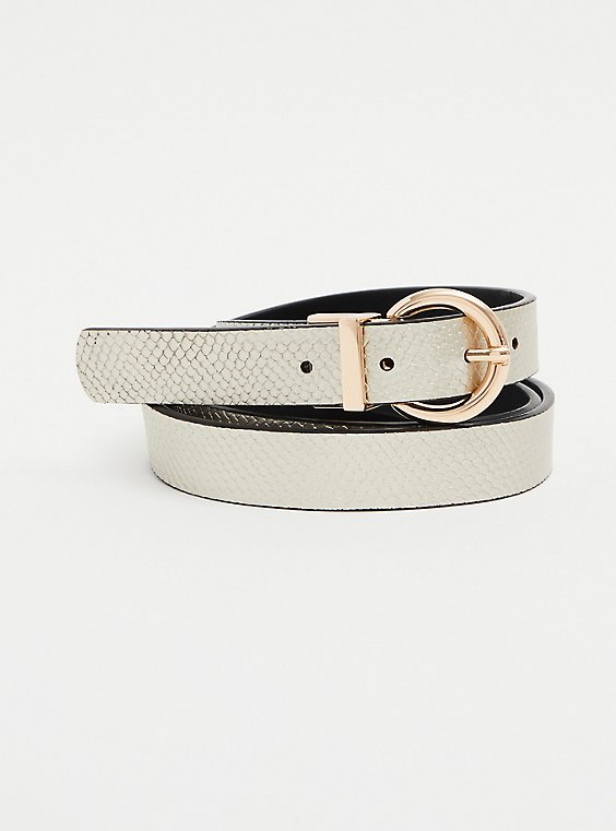 White Faux Snakeskin Leather Reversible Belt, , hi-res