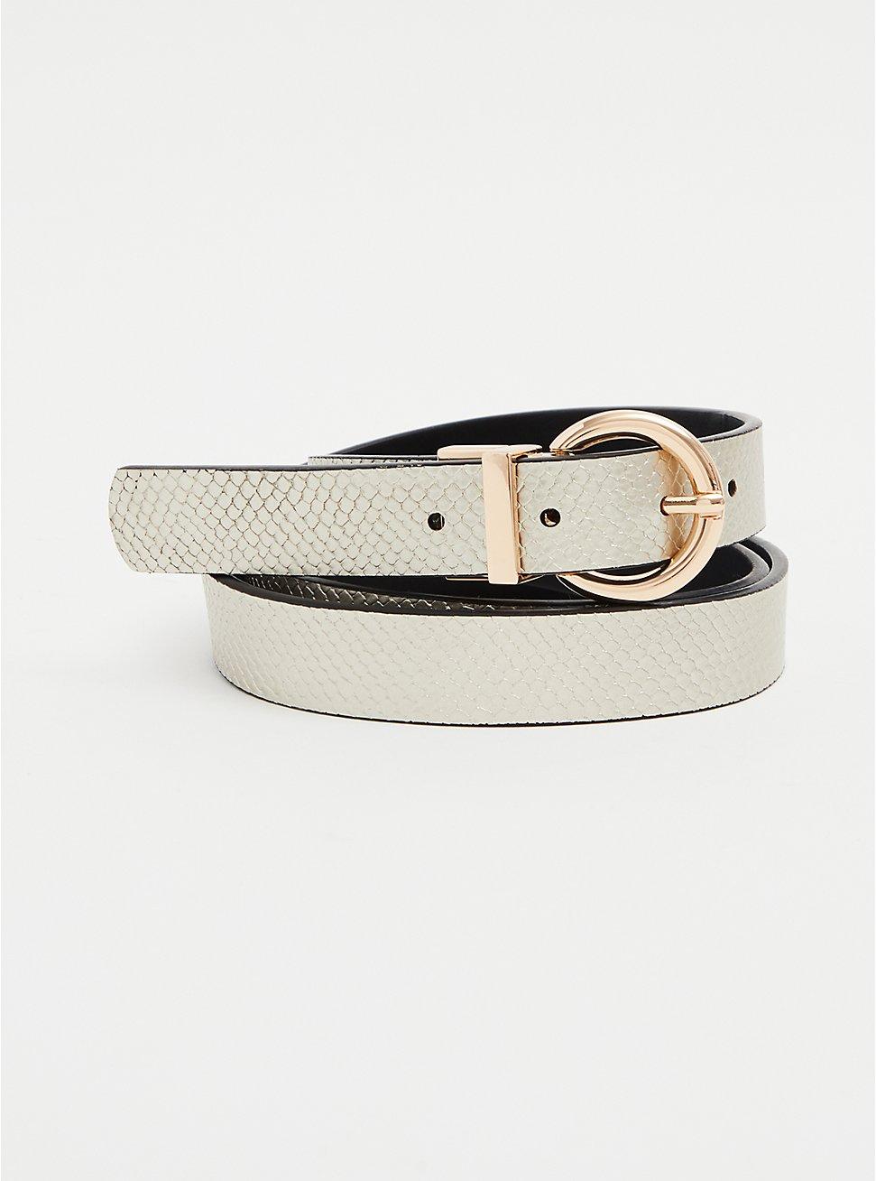 White Faux Snakeskin Leather Reversible Belt, MULTI, hi-res