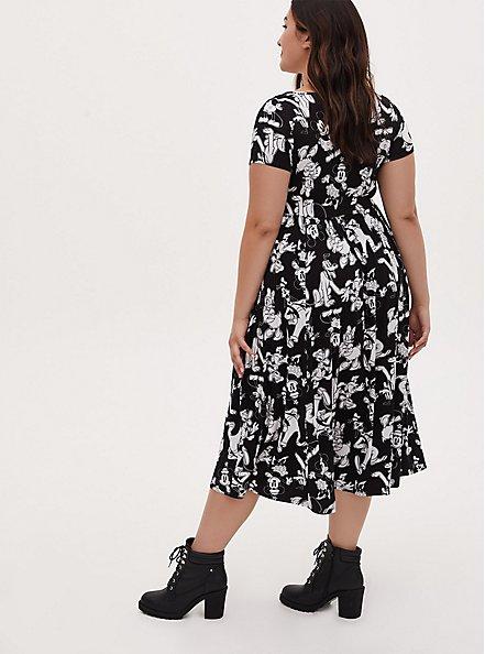 Disney Mickey Mouse & Friends Black Jersey Midi Dress, BLACK  WHITE, alternate