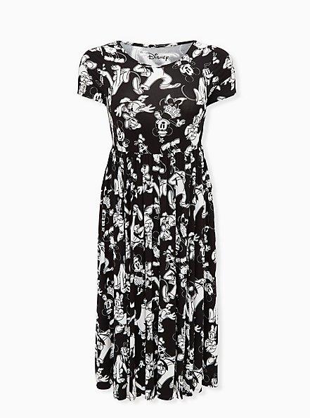 Disney Mickey Mouse & Friends Black Jersey Midi Dress, BLACK  WHITE, hi-res