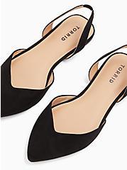 Black Faux Suede V-Cut Slingback Flat (WW), BLACK, alternate