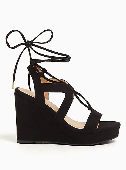 Black Faux Suede Ankle Wrap Platform Wedge (WW), BLACK, alternate