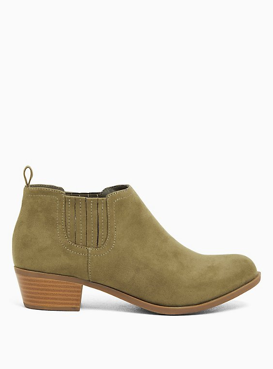 Light Olive Green Faux Suede Chelsea Ankle Boot (WW), OLIVE, ls