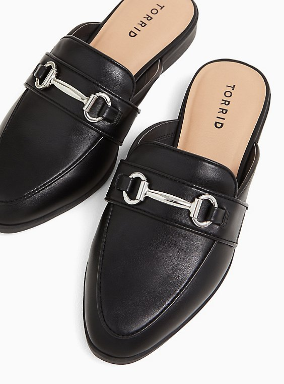 Black Faux Leather Loafer Mule (WW), , hi-res