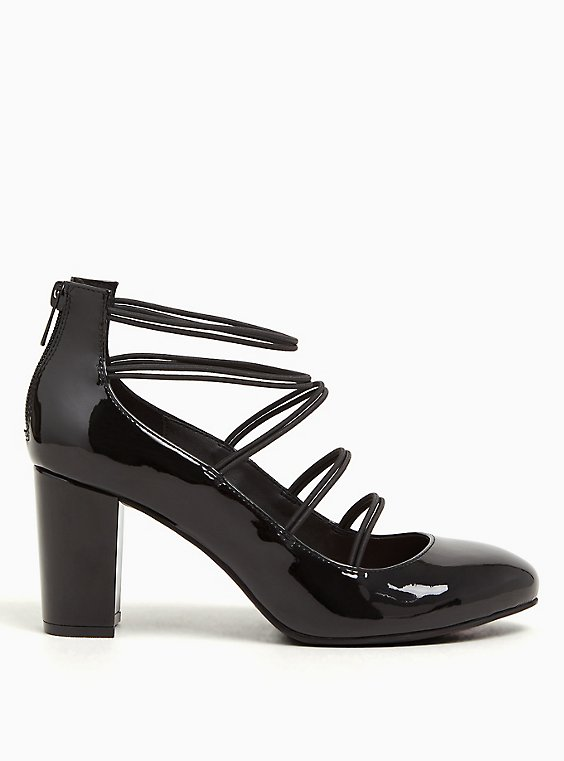 Black Faux Patent Leather Mary Jane Pump (WW), , hi-res