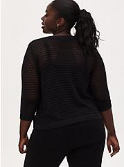 Black Open Stitch & Pointelle V-Neck Crop Pullover Sweater, DEEP BLACK, alternate