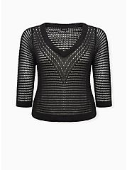 Black Open Stitch & Pointelle V-Neck Crop Pullover Sweater, DEEP BLACK, hi-res