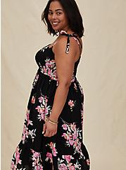 Plus Size Black Floral Challis Tie Strap Smocked Midi Dress, FLORAL - BLACK, alternate