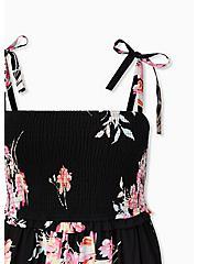 Black Floral Challis Tie Strap Smocked Midi Dress, FLORAL - BLACK, alternate
