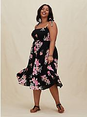 Black Floral Challis Tie Strap Smocked Midi Dress, FLORAL - BLACK, hi-res