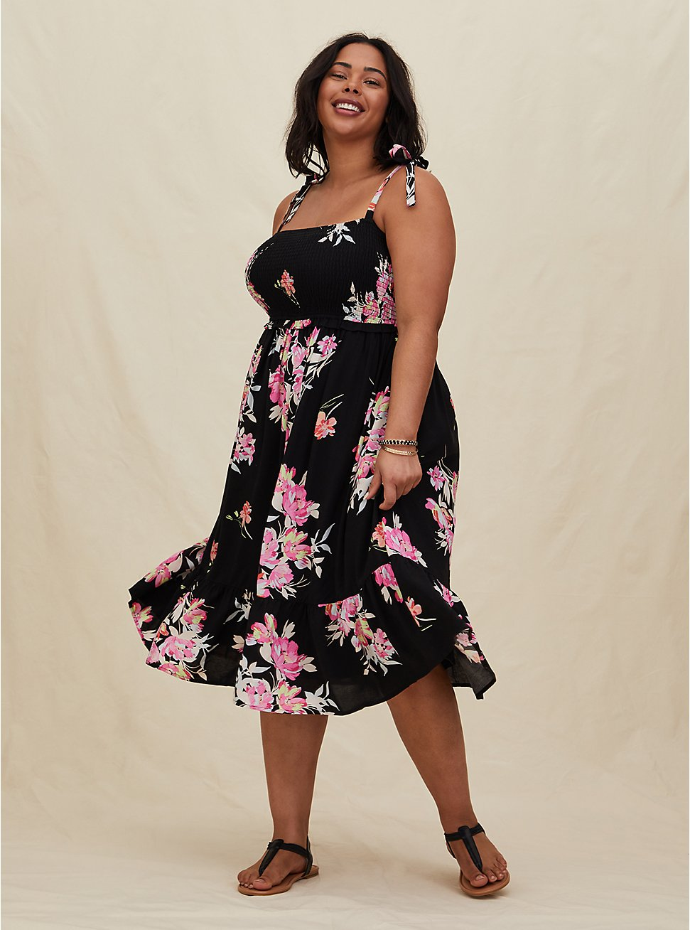 Plus Size Black Floral Challis Tie Strap Smocked Midi Dress, FLORAL - BLACK, hi-res