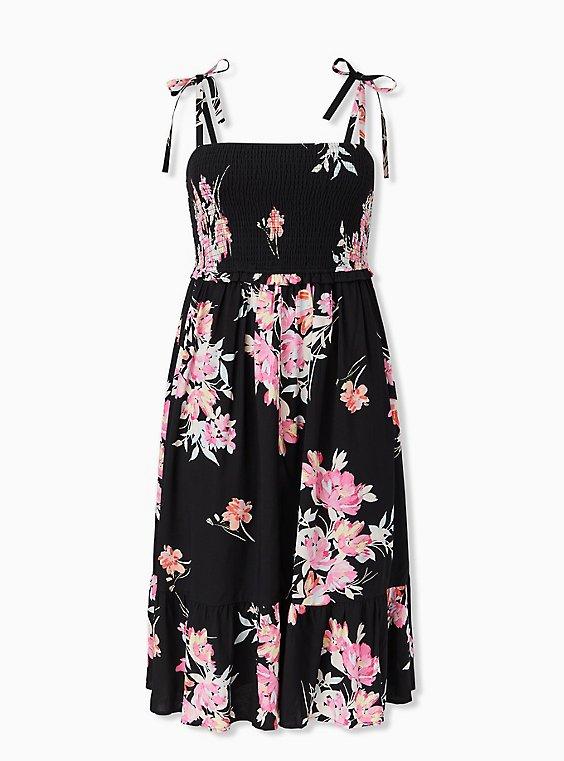 Black Floral Challis Tie Strap Smocked Midi Dress, FLORAL - BLACK, ls