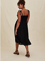 Black Textured Tie Strap Smocked Midi Dress, DEEP BLACK, alternate