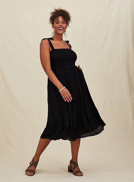 Black Textured Tie Strap Smocked Midi Dress, , hi-res