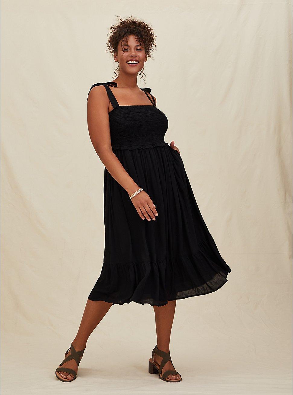 Black Textured Tie Strap Smocked Midi Dress, DEEP BLACK, hi-res