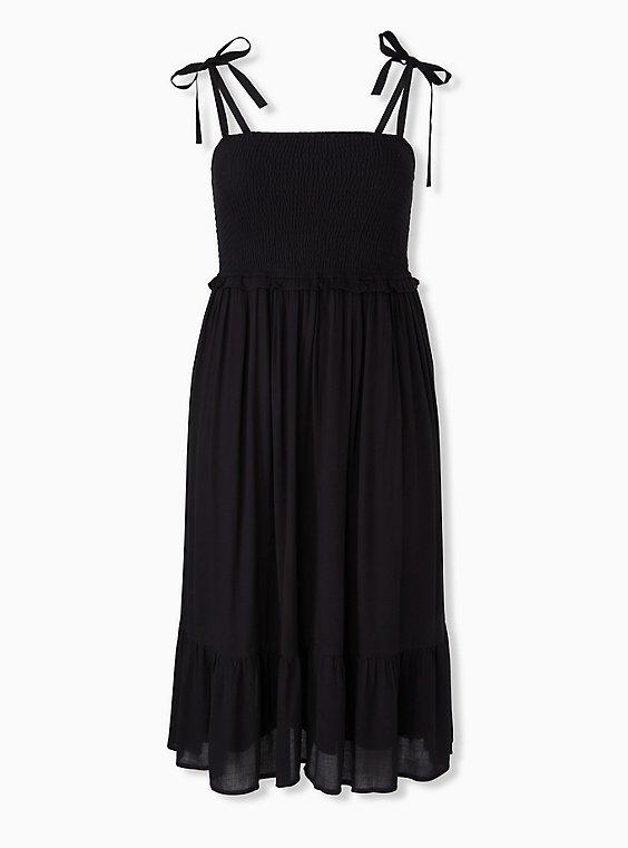 Black Textured Tie Strap Smocked Midi Dress, DEEP BLACK, ls