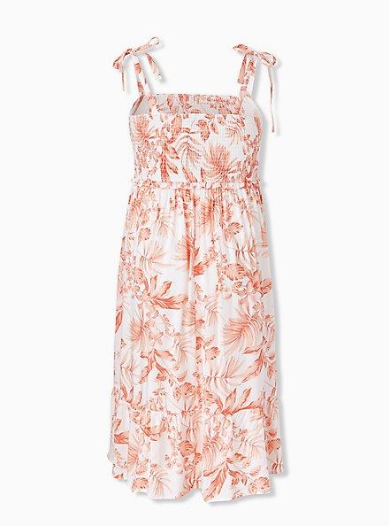 White & Coral Floral Challis Tie Strap Smocked Midi Dress, FLORAL - WHITE, alternate