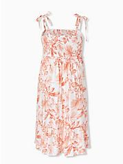 White & Coral Floral Challis Tie Strap Smocked Midi Dress, FLORAL - WHITE, alternate