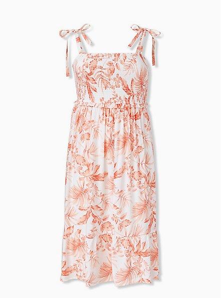 White & Coral Floral Challis Tie Strap Smocked Midi Dress, FLORAL - WHITE, hi-res