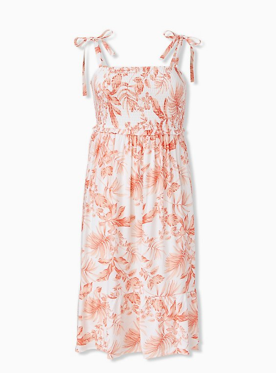 White & Coral Floral Challis Tie Strap Smocked Midi Dress, FLORAL - WHITE, ls