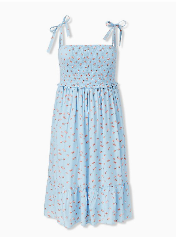 Light Blue Peach Print Challis Tie Strap Smocked Midi Dress, , hi-res