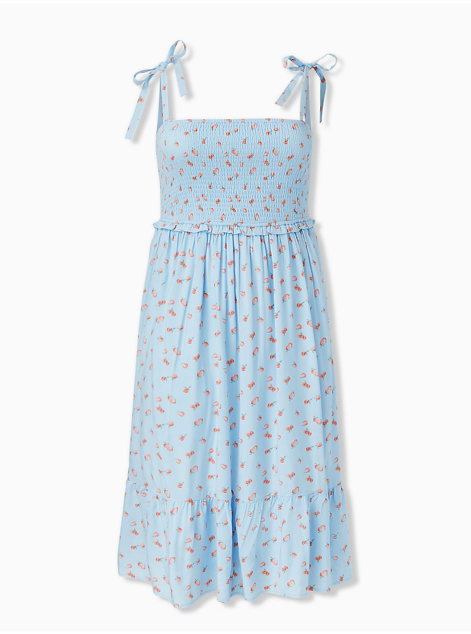 Light Blue Peach Print Challis Tie Strap Smocked Midi Dress, FLORAL - BLUE, hi-res
