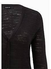 Black Textured Slub Boyfriend Cardigan, DEEP BLACK, alternate