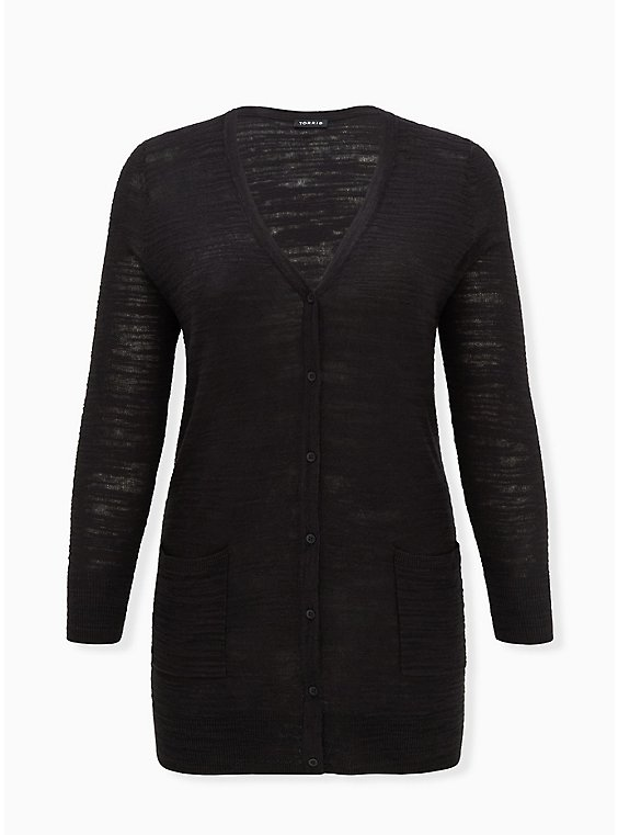 Black Textured Slub Boyfriend Cardigan, , hi-res