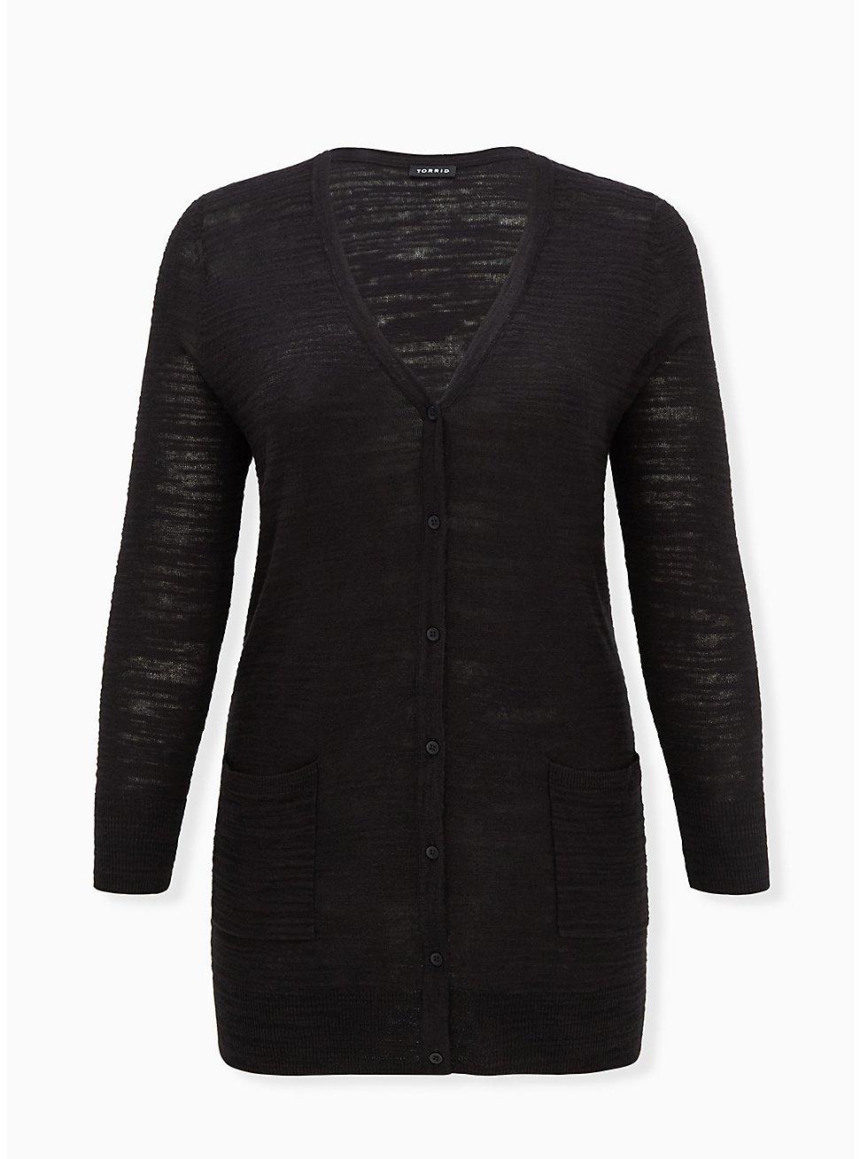 Black Textured Slub Boyfriend Cardigan, DEEP BLACK, hi-res