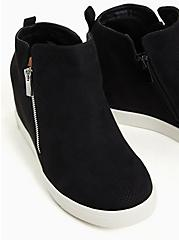 Black Faux Suede Wedge Sneaker (WW), BLACK, alternate