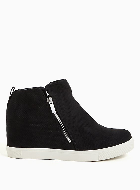 Black Faux Suede Wedge Sneaker (WW), BLACK, hi-res
