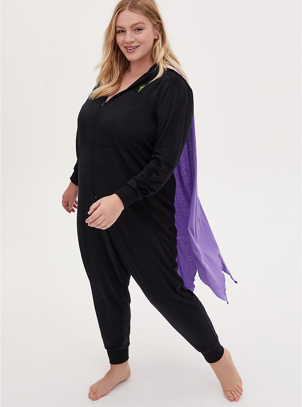 Disney Sleeping Beauty Maleficent Fleece Onesie with Cape , DEEP BLACK, hi-res