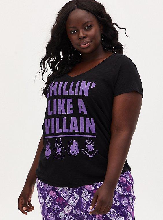 Plus Size Disney Villain Chillin' Like A Villain Black Sleep Top, DEEP BLACK, hi-res