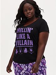 Disney Villain Chillin' Like A Villain Black Sleep Top, DEEP BLACK, hi-res