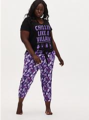 Plus Size Disney Villain Purple Drawstring Crop Sleep Pant , MULTI, hi-res