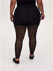 Premium Legging - Flocked Star Mesh Black, BLACK, alternate