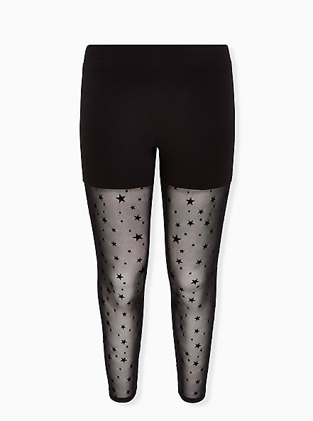 Premium Legging - Flocked Star Mesh Black, BLACK, hi-res