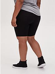 Plus Size Black Slashed Fishnet Underlay Bike Shorts, BLACK, alternate
