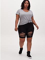 Plus Size Black Slashed Fishnet Underlay Bike Shorts, BLACK, hi-res
