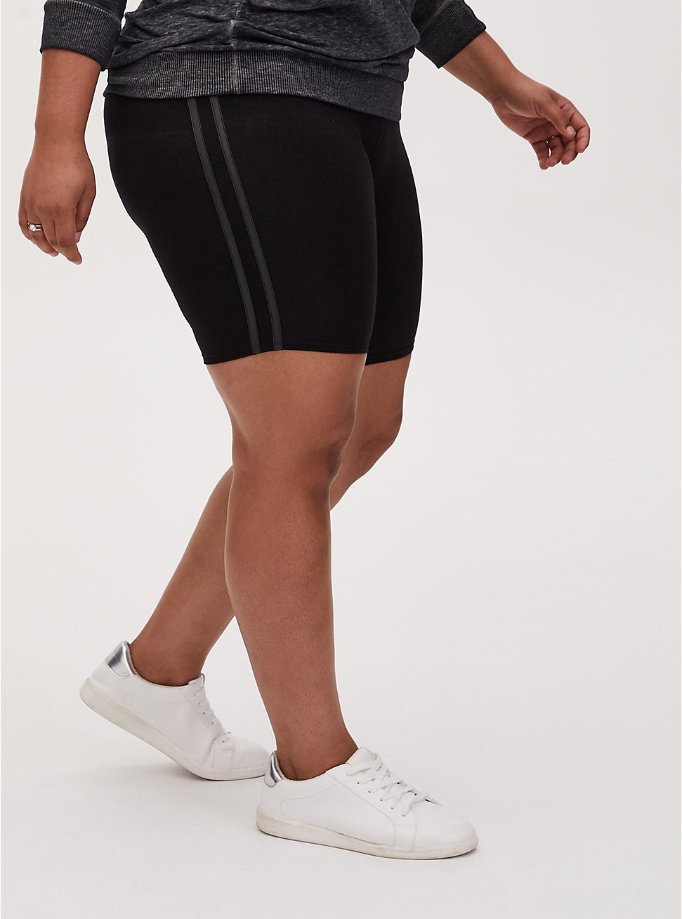 Black & Faux Leather Dual Stripe Bike Short, BLACK, hi-res