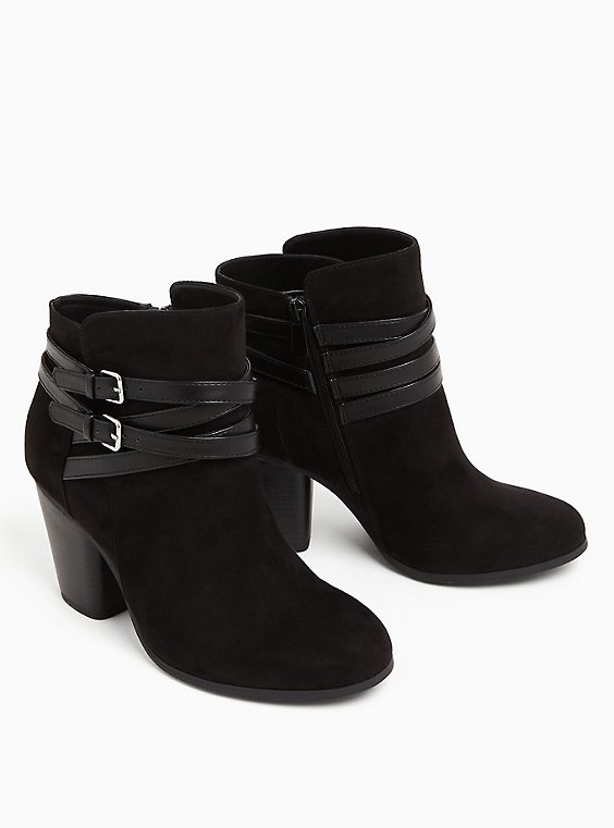 Black Faux Suede Wrap Strap Bootie (WW), BLACK, ls